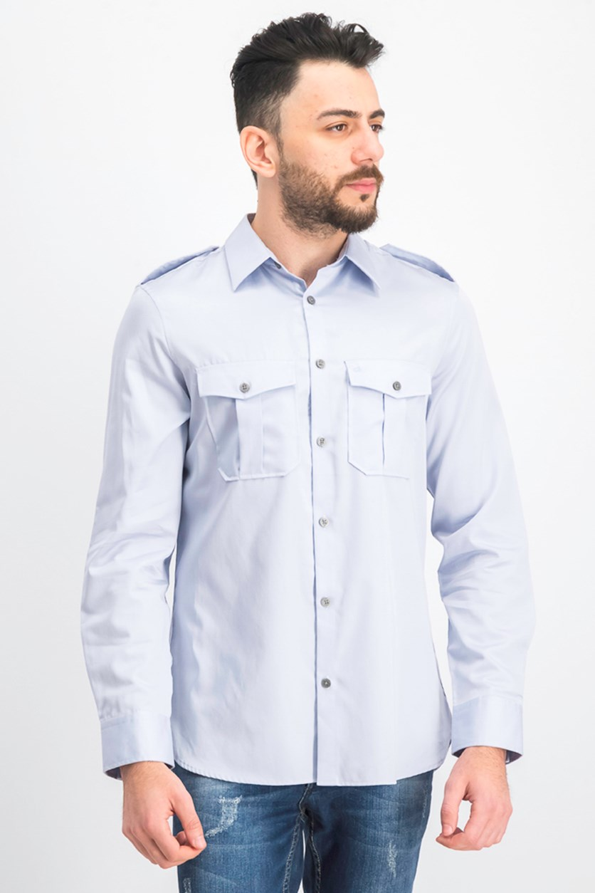 Men's Classic-Fit Utility Shirt, Grey Dream