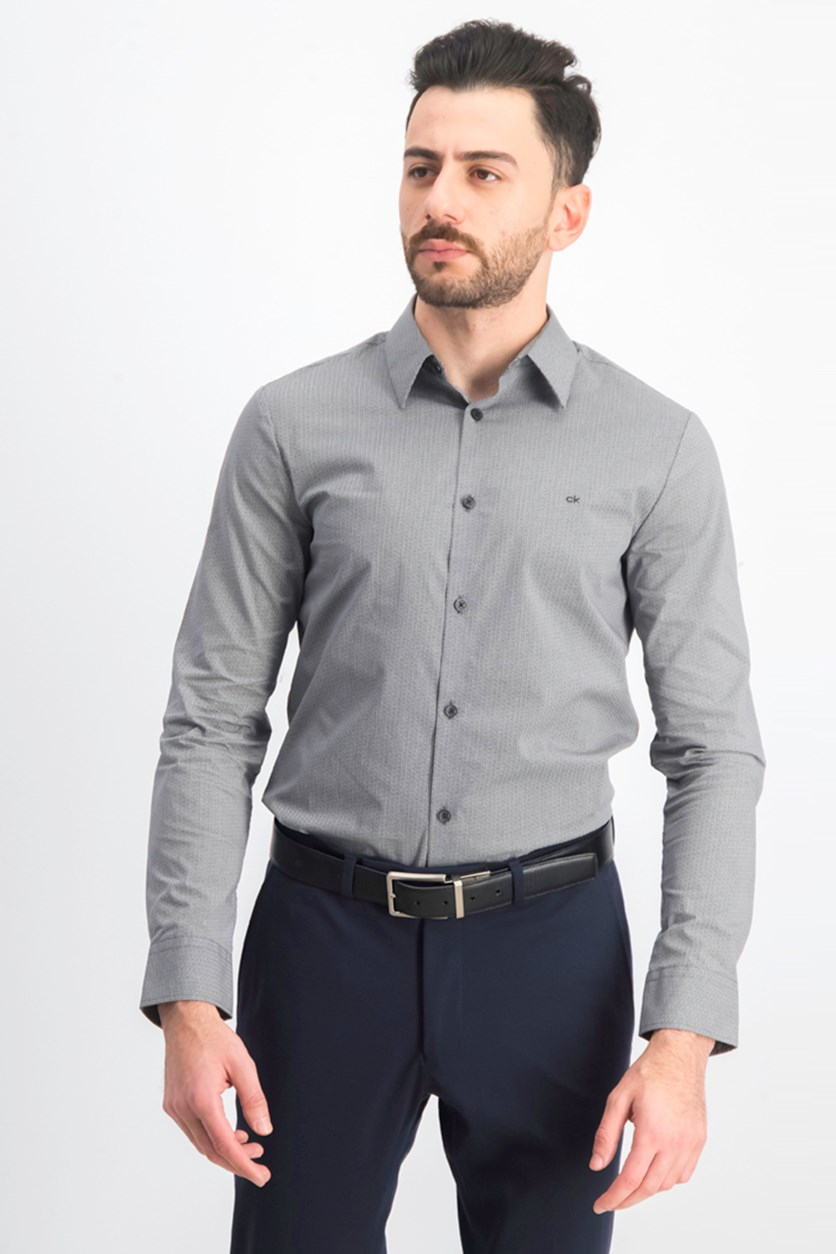 Men's Stretch Cotton Casual Shirt, Black