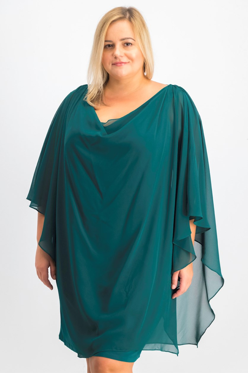 Women's Plus Size Sequined Cowl Back Party Dress, Emerald