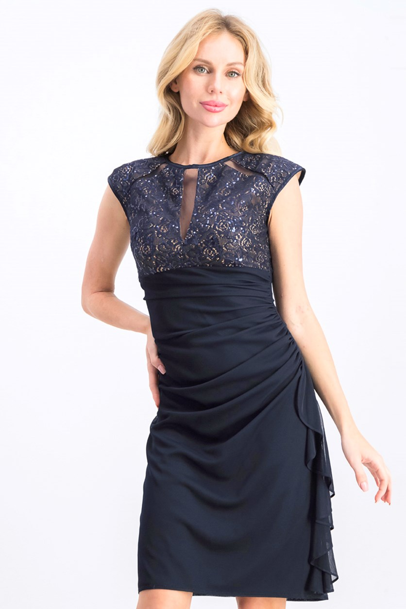 Ruched Lace Sheath Dress, Navy