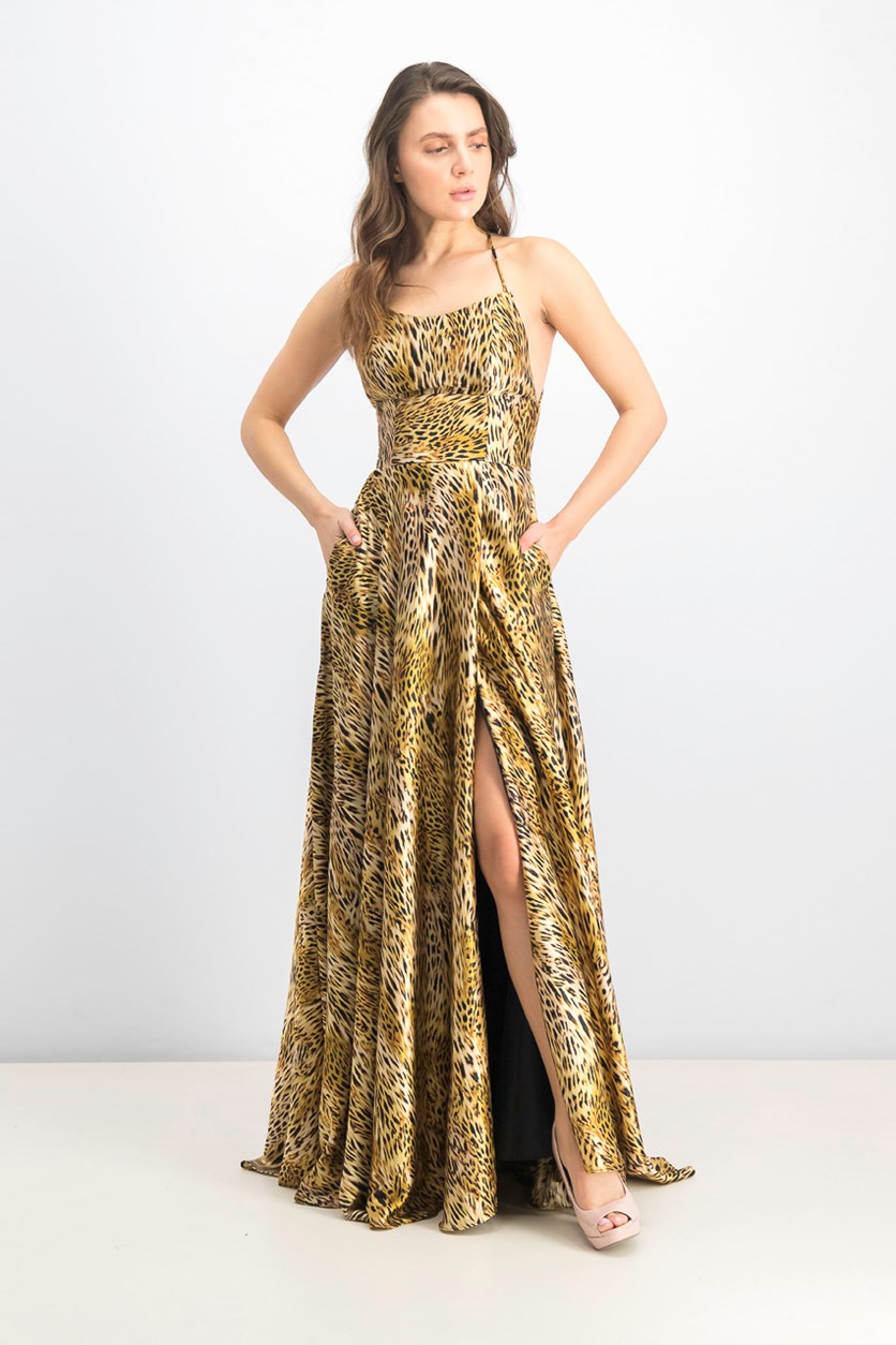 Women's Animal-Print Slit Gown, Leopard