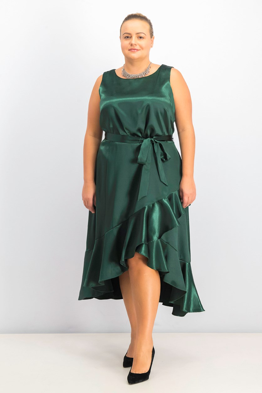 Women's Plus Size Ruffled Asymmetrical Dress, Hunter Green