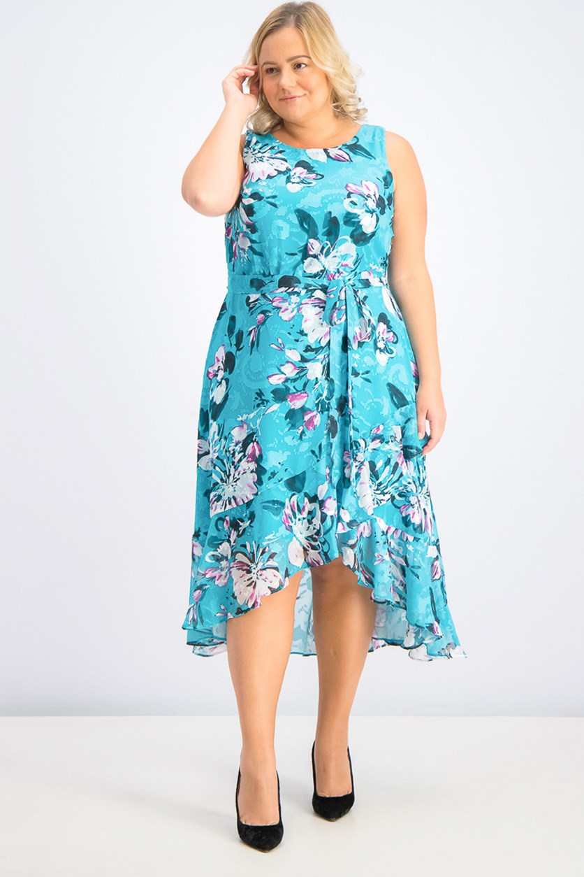 Women's Plus Size Floral-Print Ruffled Dress, Jade/Deep Fuchsia