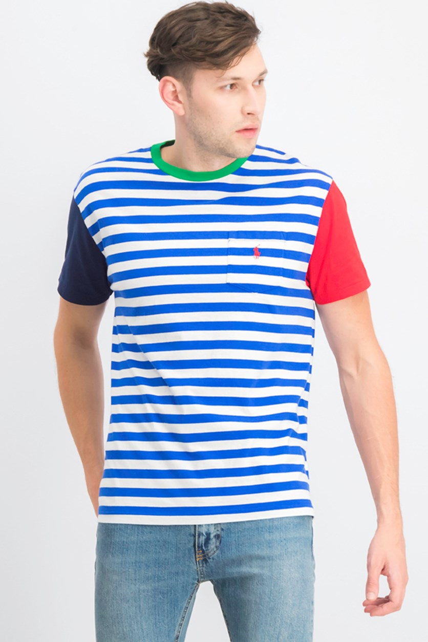Men's Stripe Classic Fit T-shirt, White/Blue Combo
