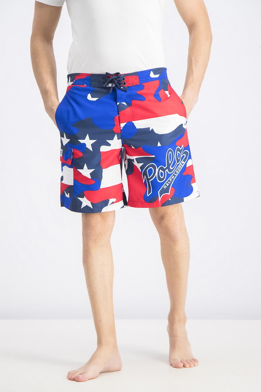 Mens Summer Beach Swim Trunks, Blue/Red/White