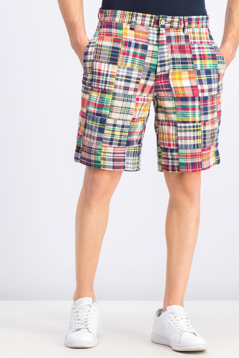 Men's Plaid Shorts, Navy/Red Combo
