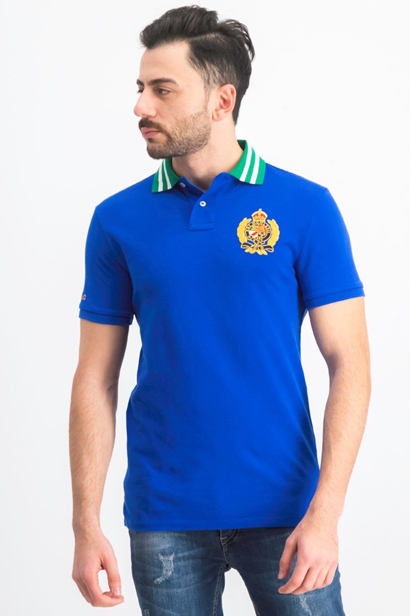 Men's Custom Slim Fit Mesh Polo Shirt, Blue