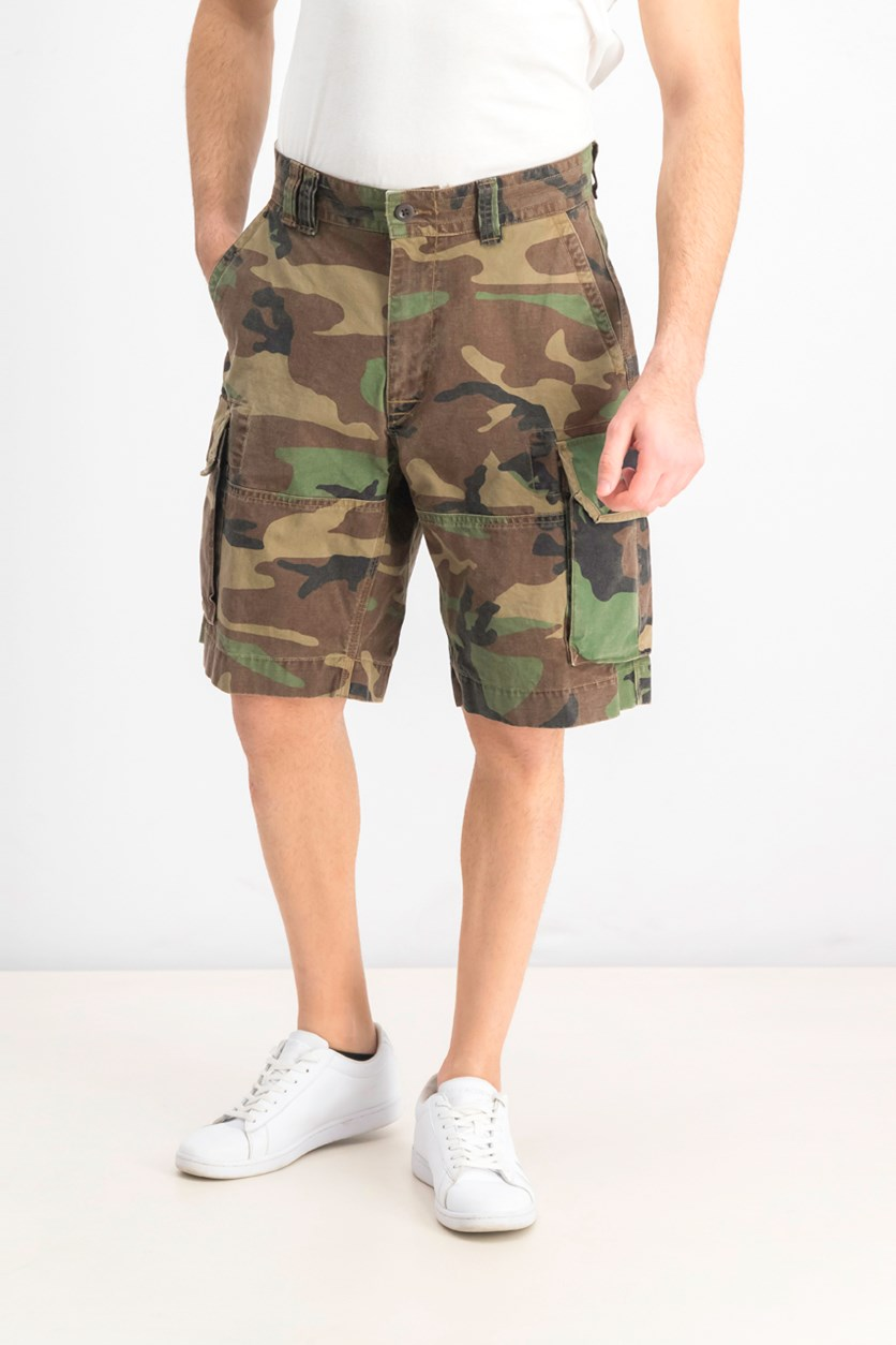 Men's 10.5 Relaxed Fit Camo Cargo Shorts, Green Combo
