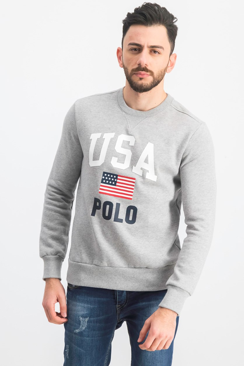 Men's Fleece Graphic Americana Crewneck Sweatshirt, Grey