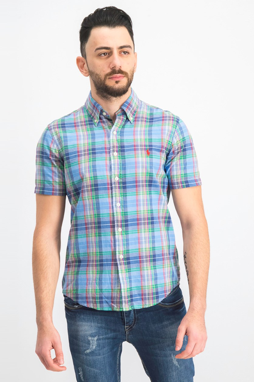 Men's Classic-Fit Madras Shirt, Blue Combo