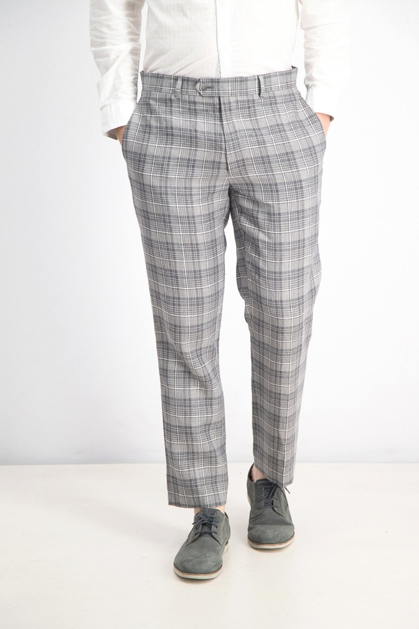Men's Slim-Fit Linen Gray Plaid Pants, Gray