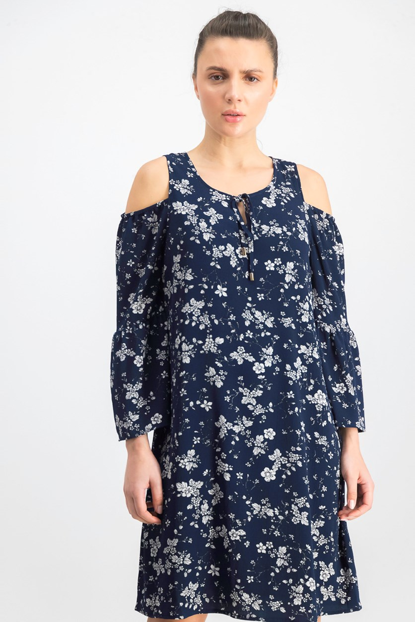 Womens Cold Shoulder Floral Casual Dress, Navy