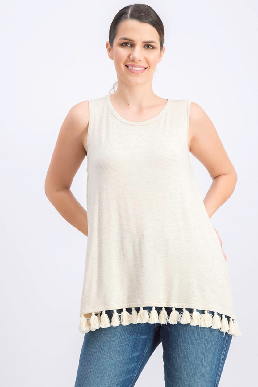 Women's Tassel Sleeveless Tank Top, Beige