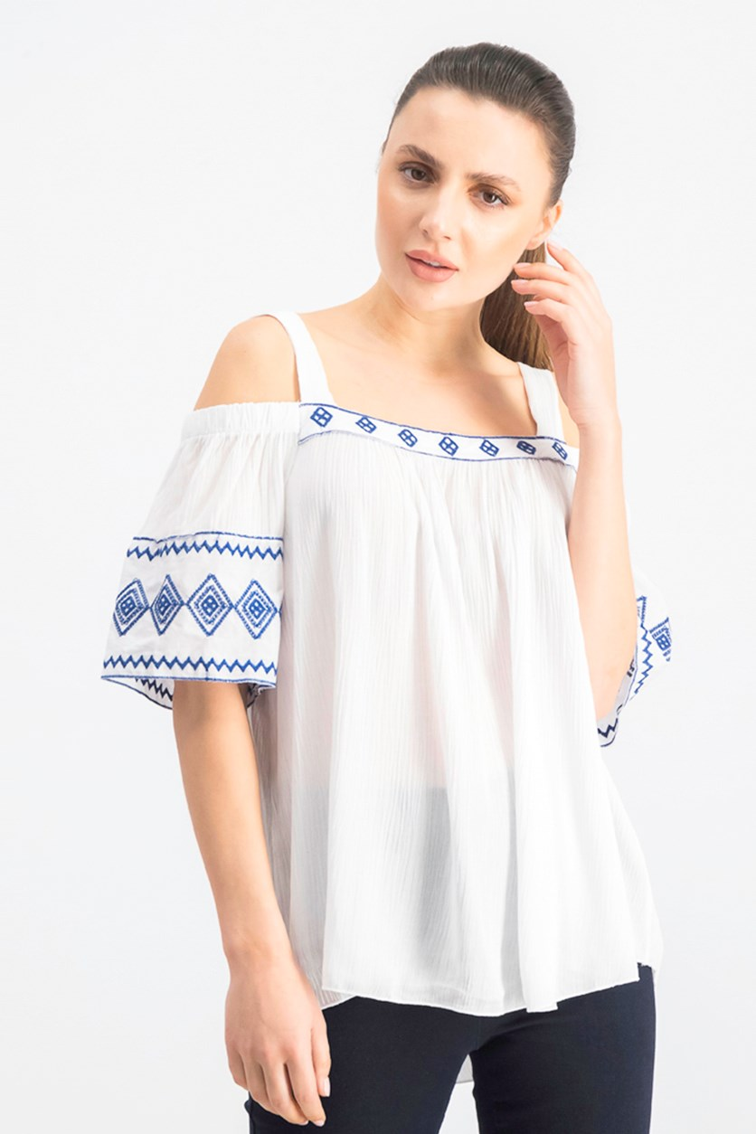 Women's Embroidered Pleated Casual Top, White