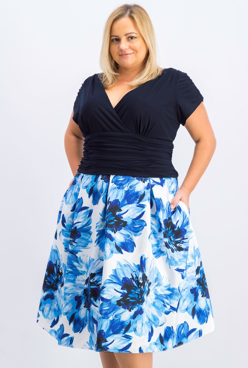 Womens Plus Size Floral-Skirt A-Line Dress, Blue Combo