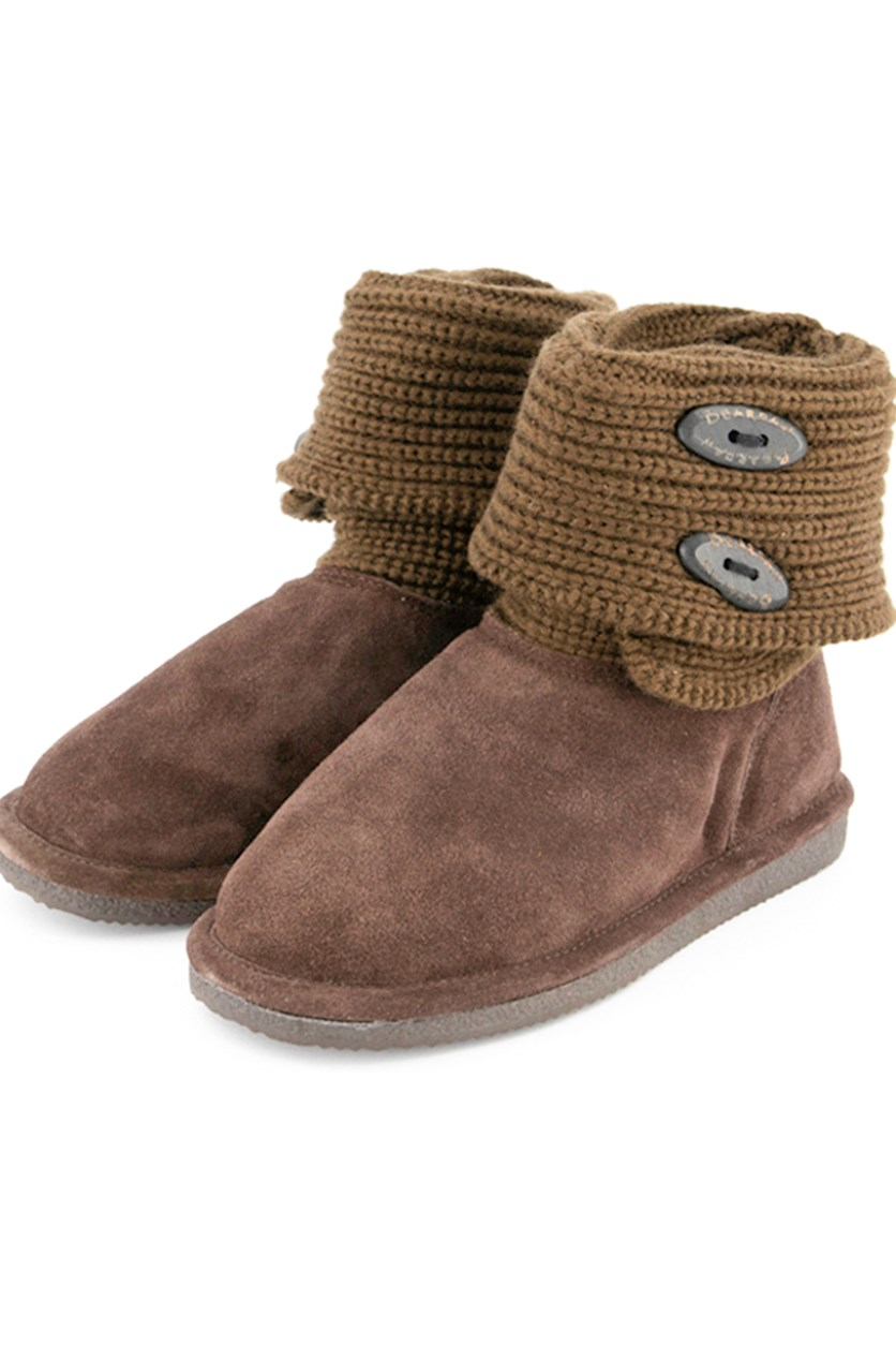 Women's Cable Knit Oval Boots, Chocolate