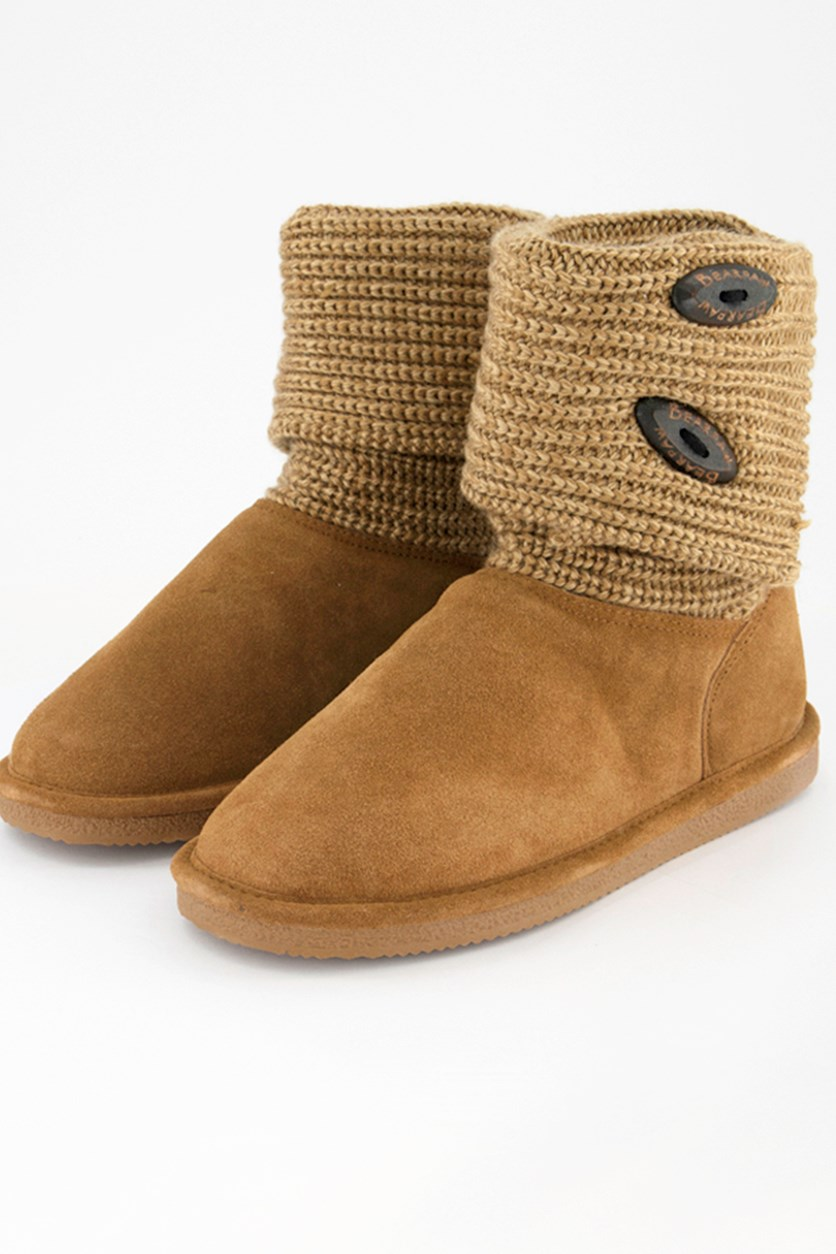 Women's Cable Knit Oval Boots, Chestnut
