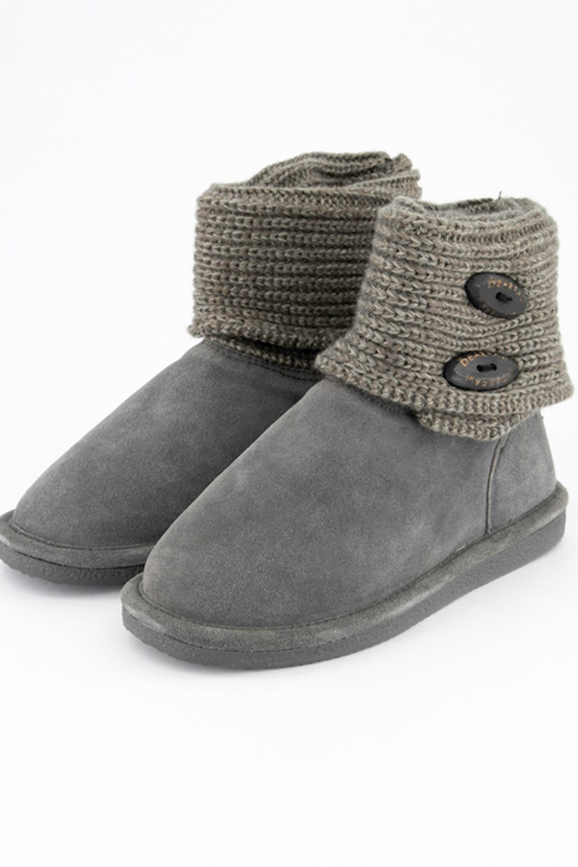 Women's Cable Knit Oval Boots, Gray