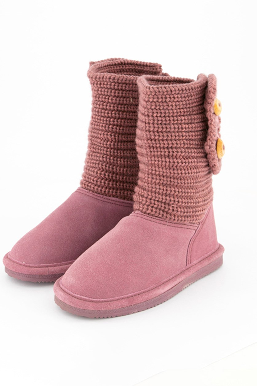 Cable Knit Youth Oval Boots, Pink