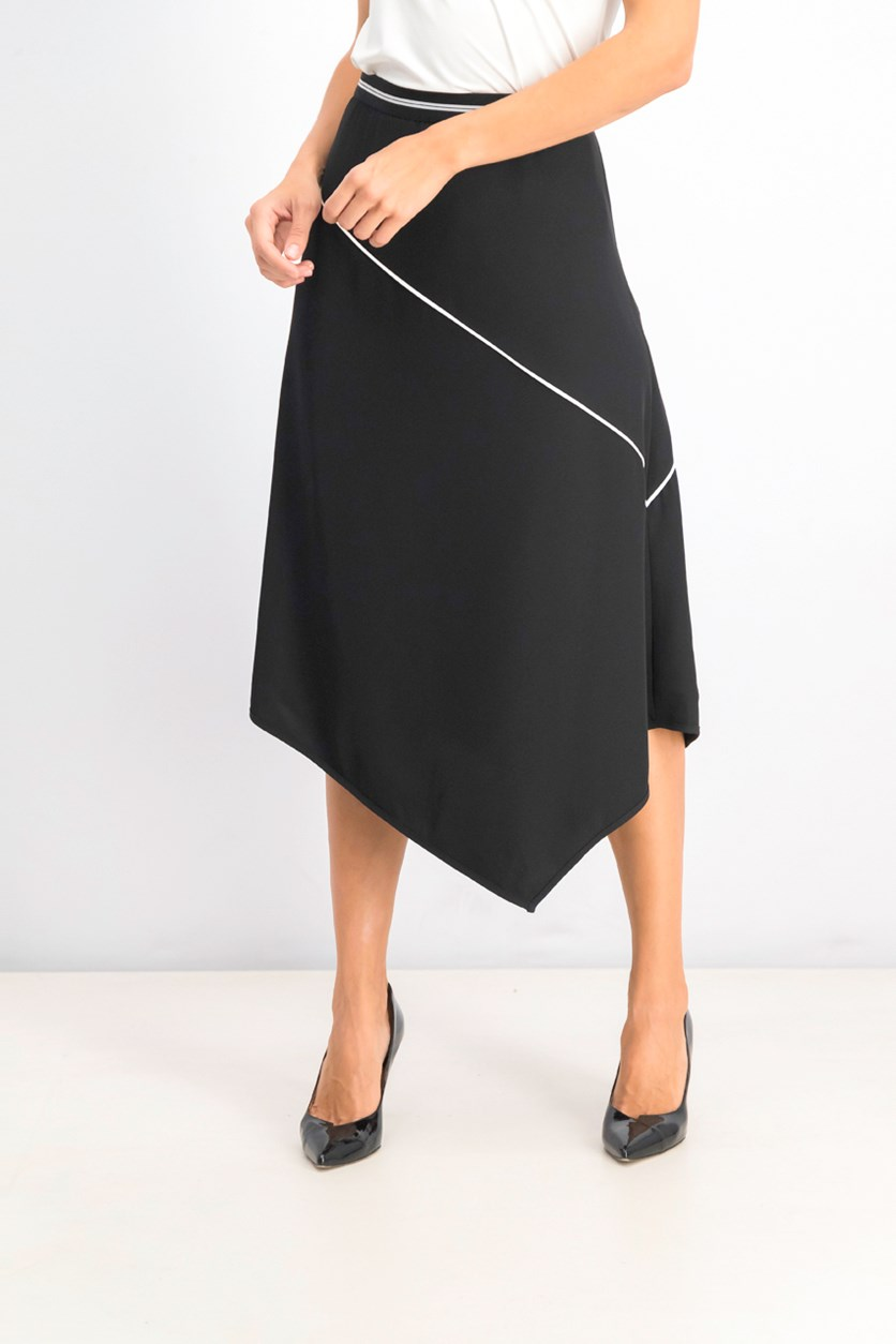 Women's Asymmetrical Midi Skirt, Black