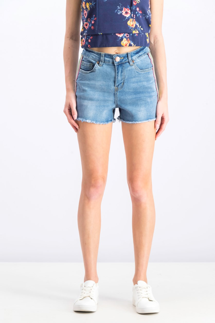 Women's Juniors' Rainbow-Stripe High-Rise Denim Shorts, Midtown Blue