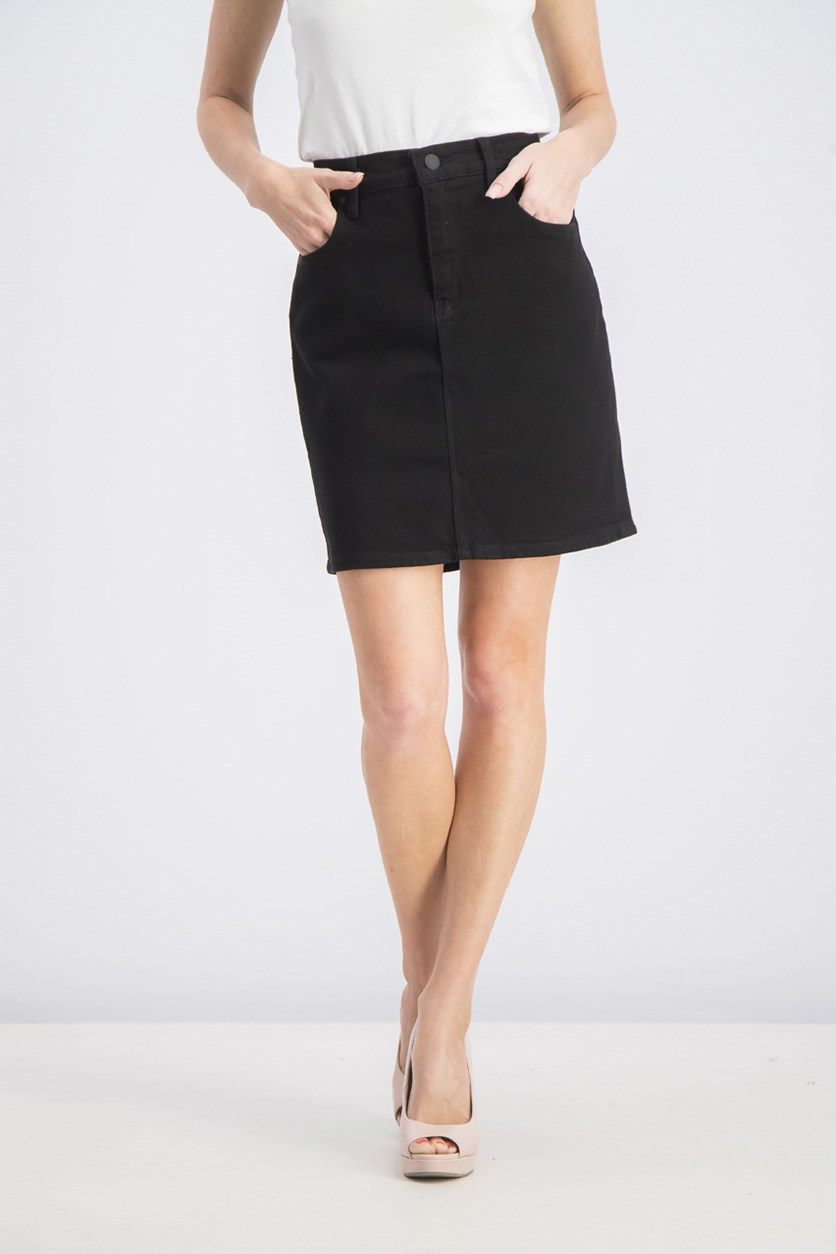 Lulu Denim Mini Skirt, Black