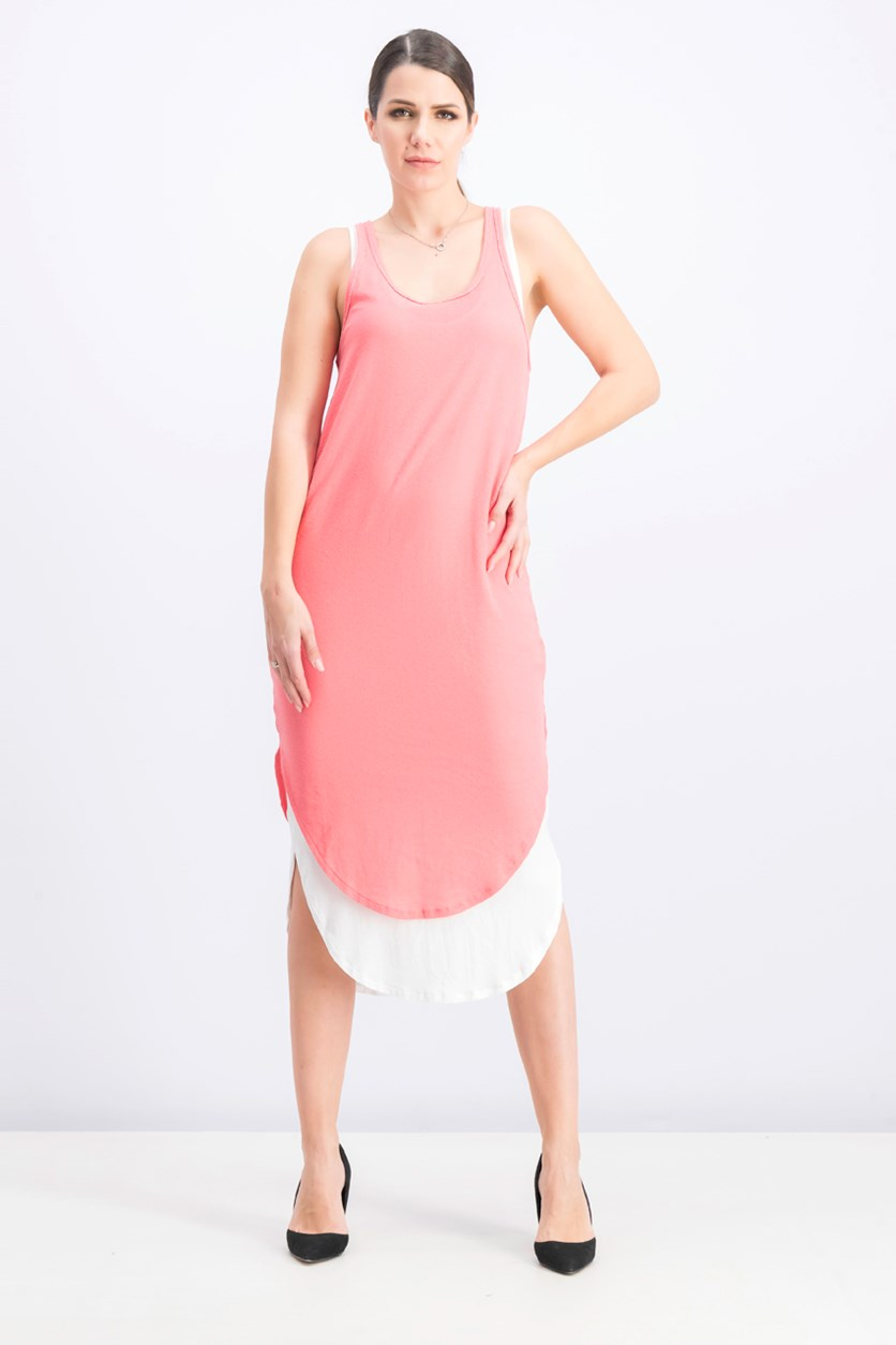 Women's Sleeveless Textured Shirt Dress, Coral