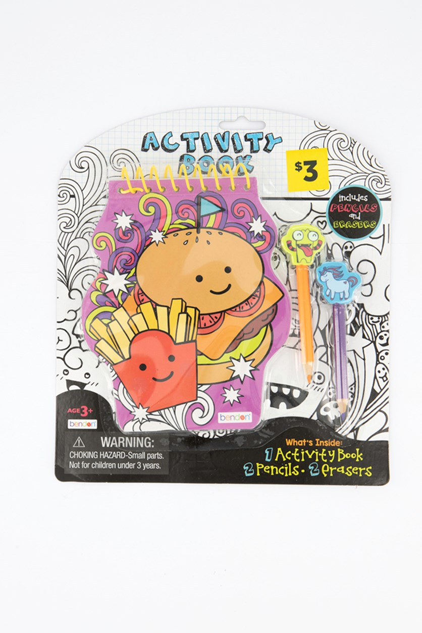 Spiral Activity Book with Eraser, Purple Combo