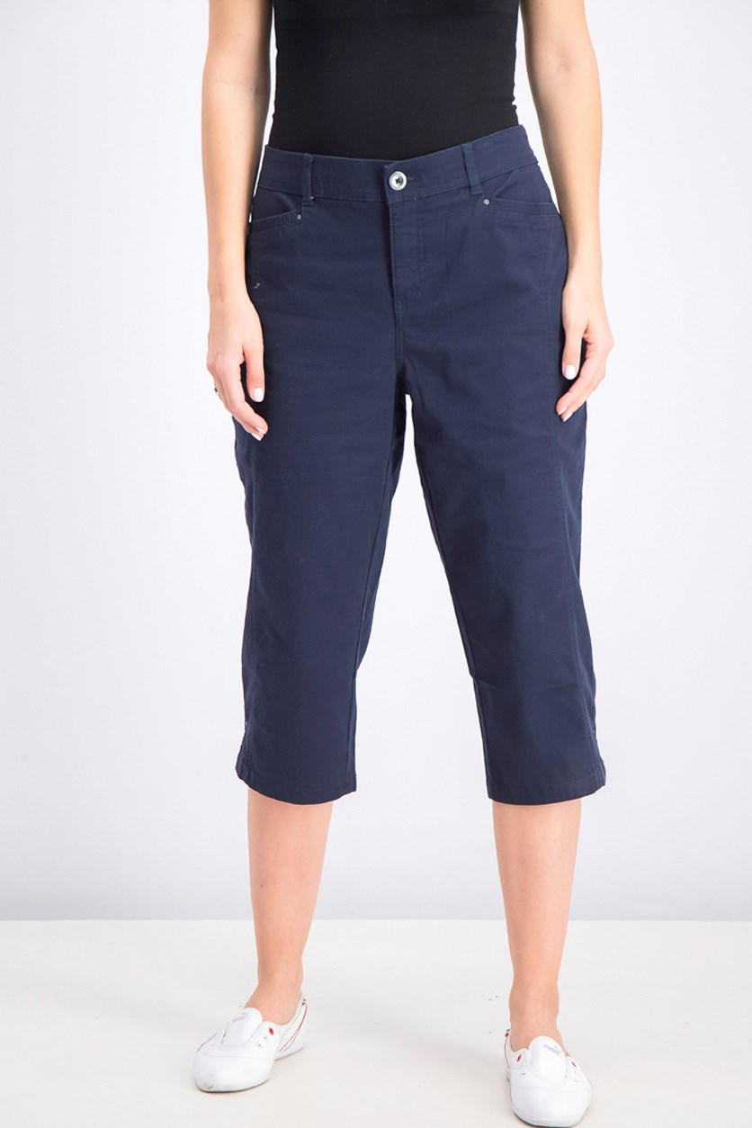 Women's Split-Hem Capri Pants, Industrial Blue