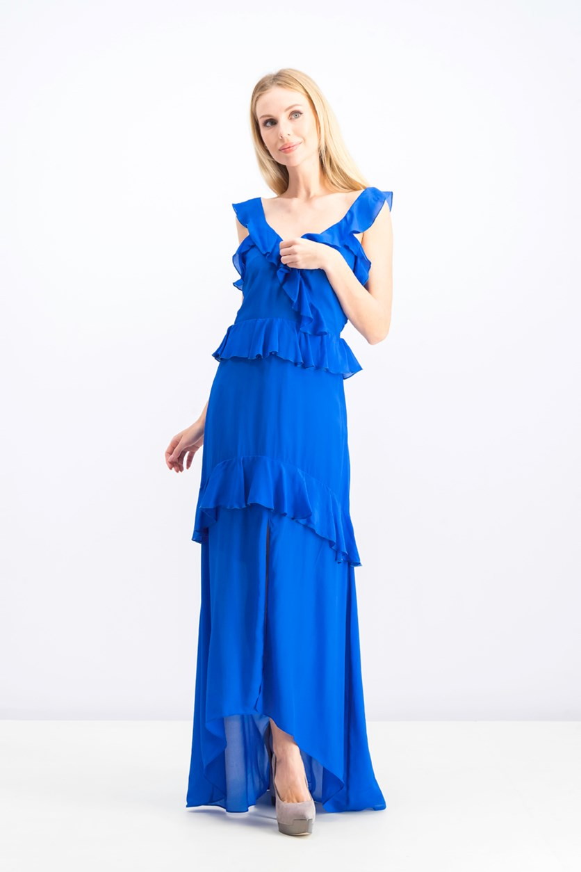 Women's  Tiered Ruffle Solid Maxi Dress, Royal Blue