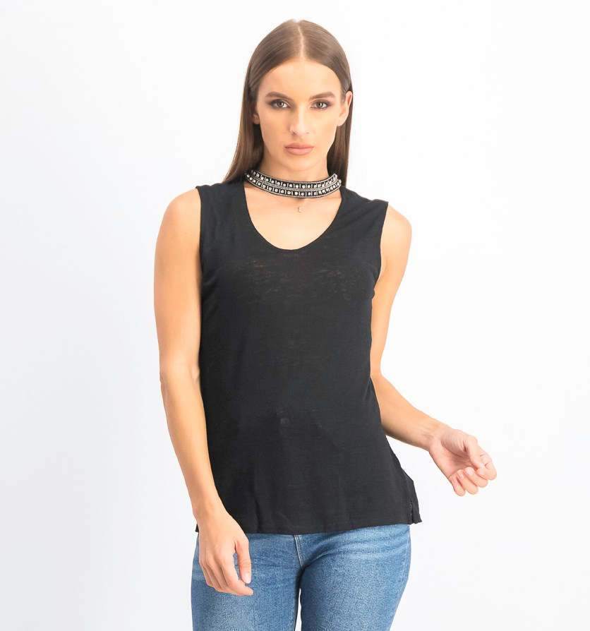 Women's Embellished Cutout Tank, Black
