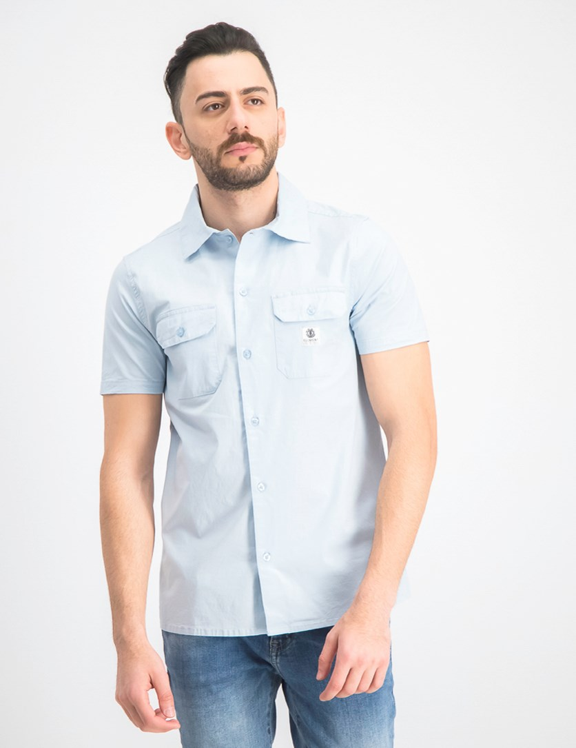 Men's Short Sleeve Woven Casual Shirt, Celestial/Light Blue