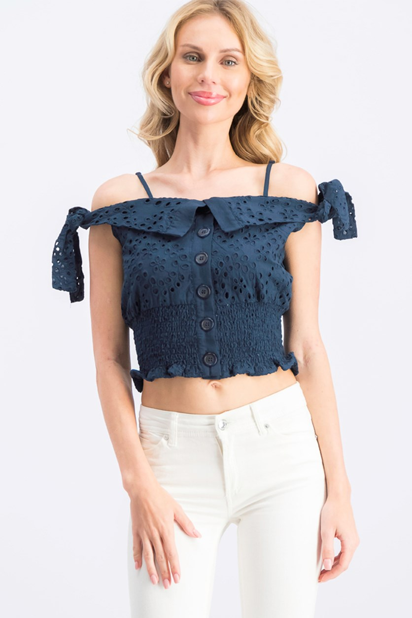 Women's Cotton Eyelet Cold-Shoulder Top, Navy