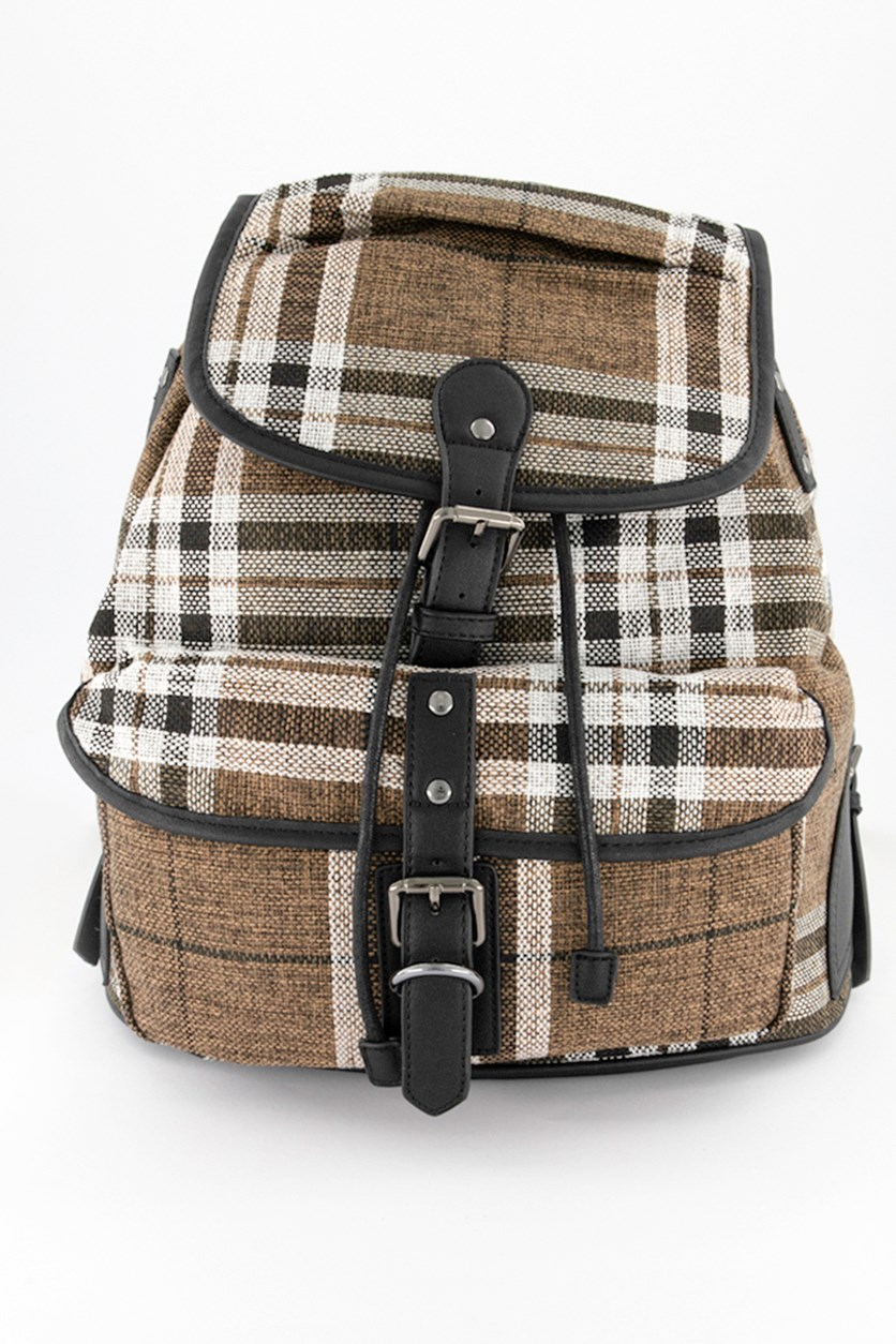 Men's Plaid Backpack, Brown Combo