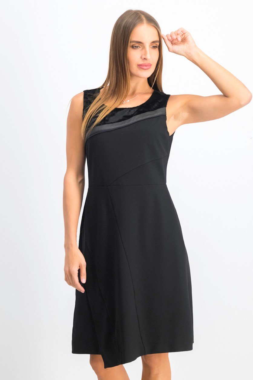Women's Elmet Ponte Faux Leather Trim Cocktail Dress, Black