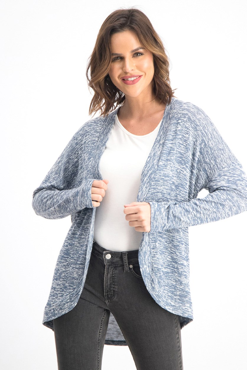 Women's Juniors' Marled Cardigan, Blue Marled