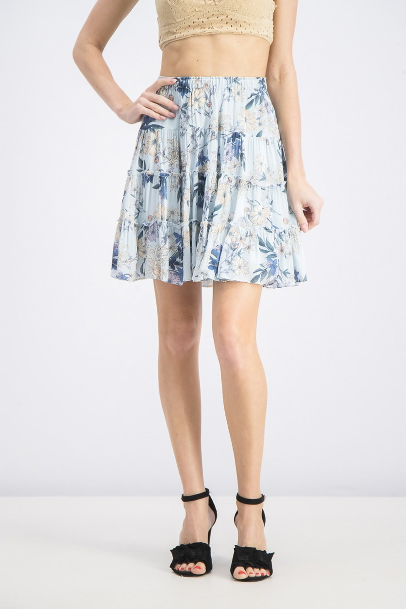 Women's Printed Tiered Skirt, Blue