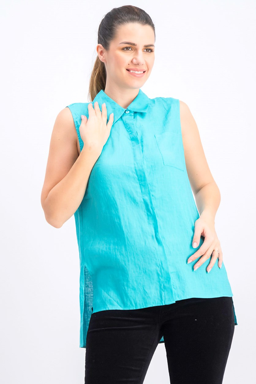 Women's Sleeveless Linen Shirt, Turquoise