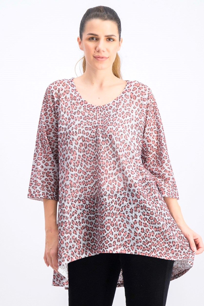 Women's Animal Print Top, Pink Combo