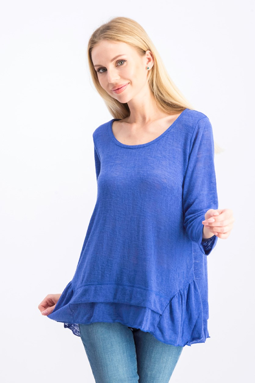 Women's Long-Sleeve Scoop Neck Top, Blue