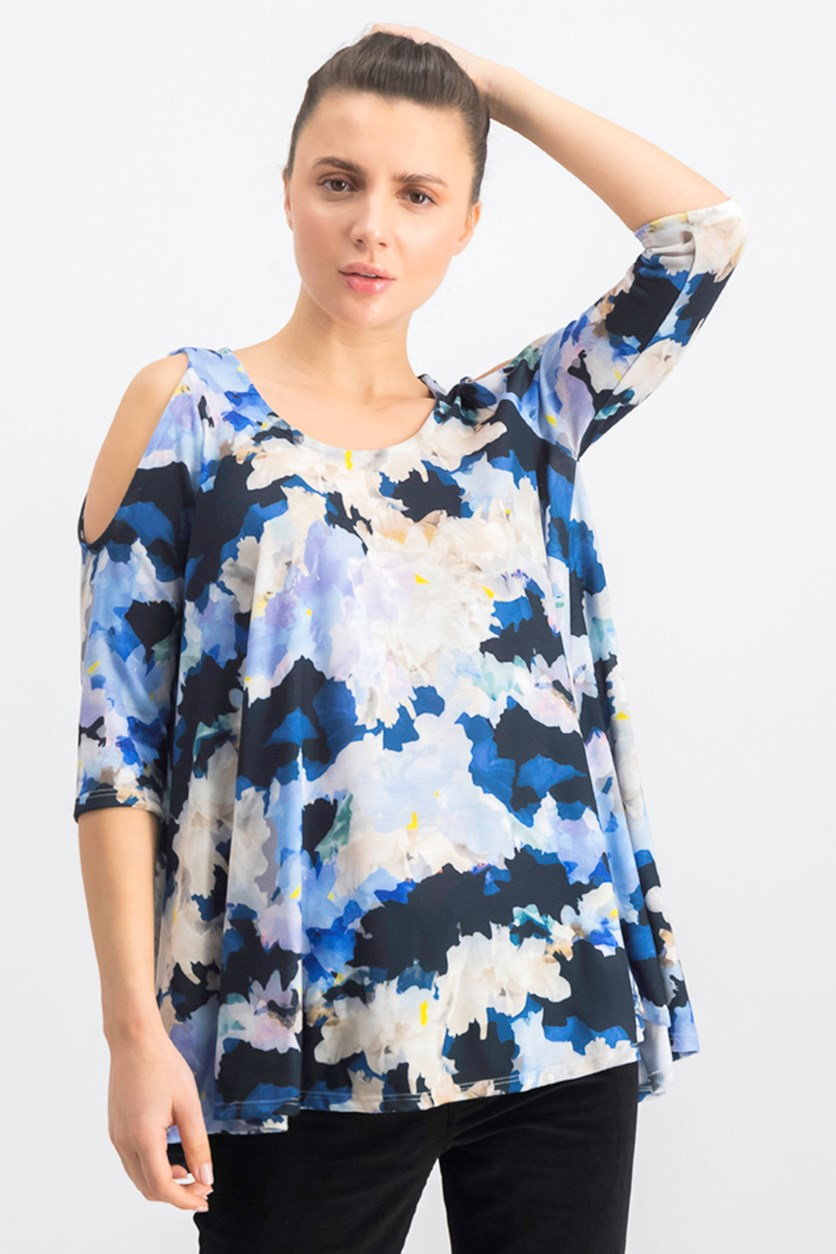 Women's Cold Shoulder Top, Blue Combo
