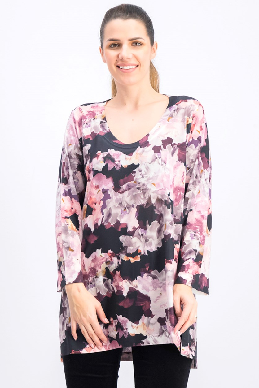 Women's Abstract Floral Print Tunic, Pink Combo