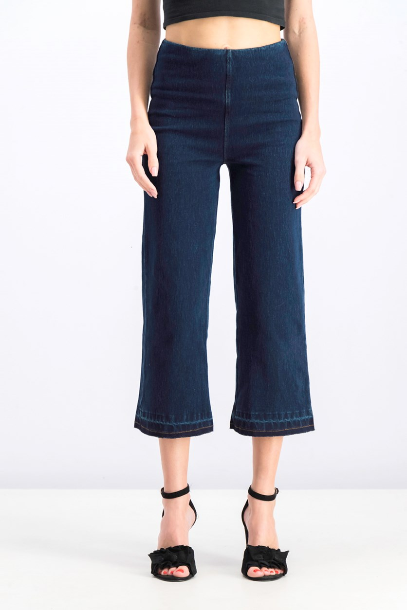 Women's Crop Flare Denim Pants, Indigo