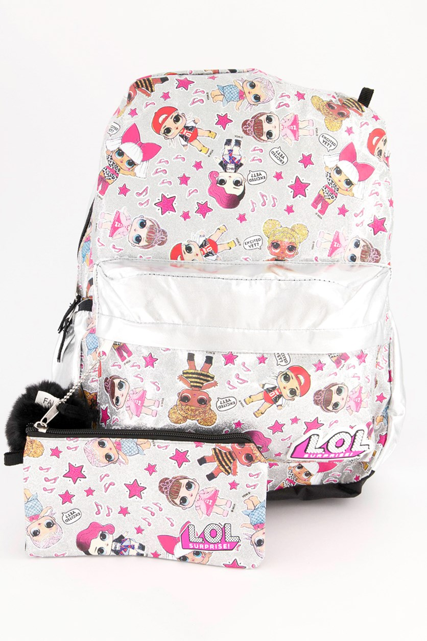 Girls 3-Pc Graphic Backpack Set, Metallic Gold Combo