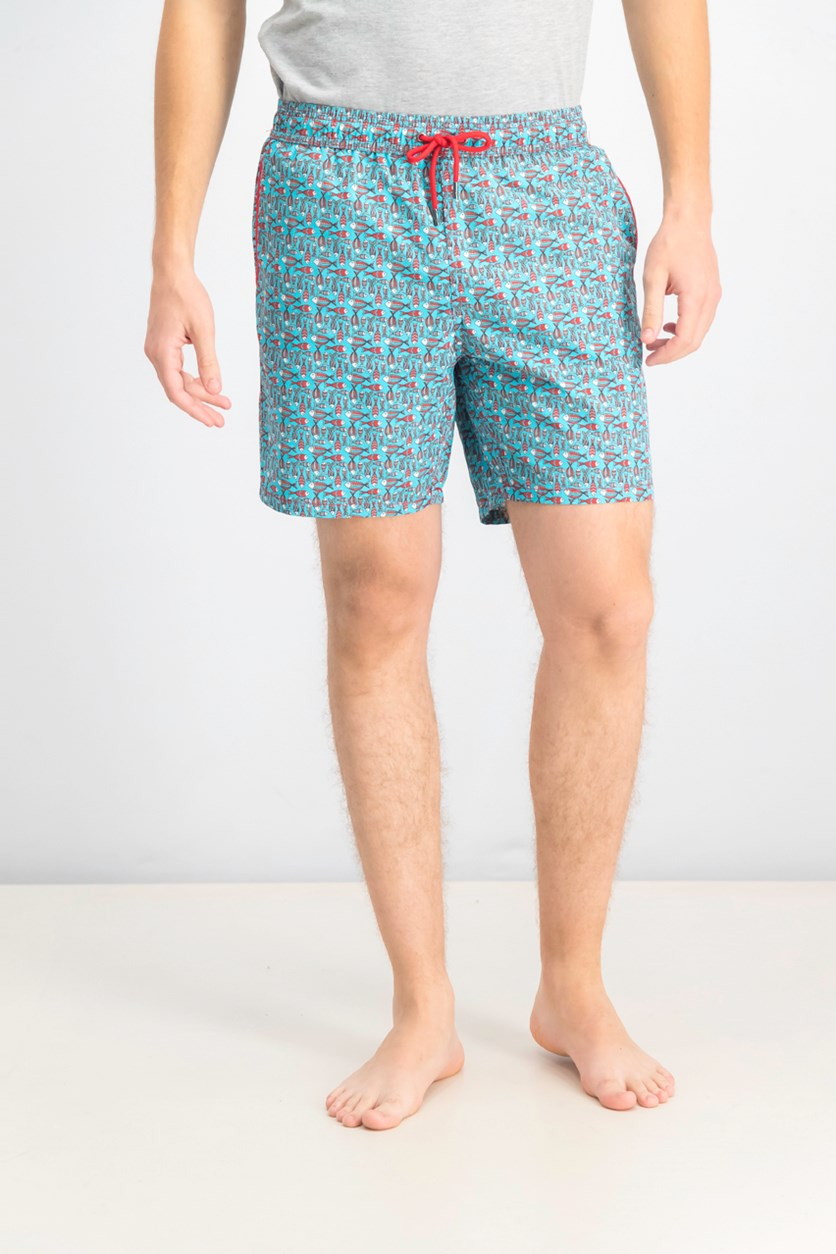 Men's Patterned Fish Swim Trunks, Red