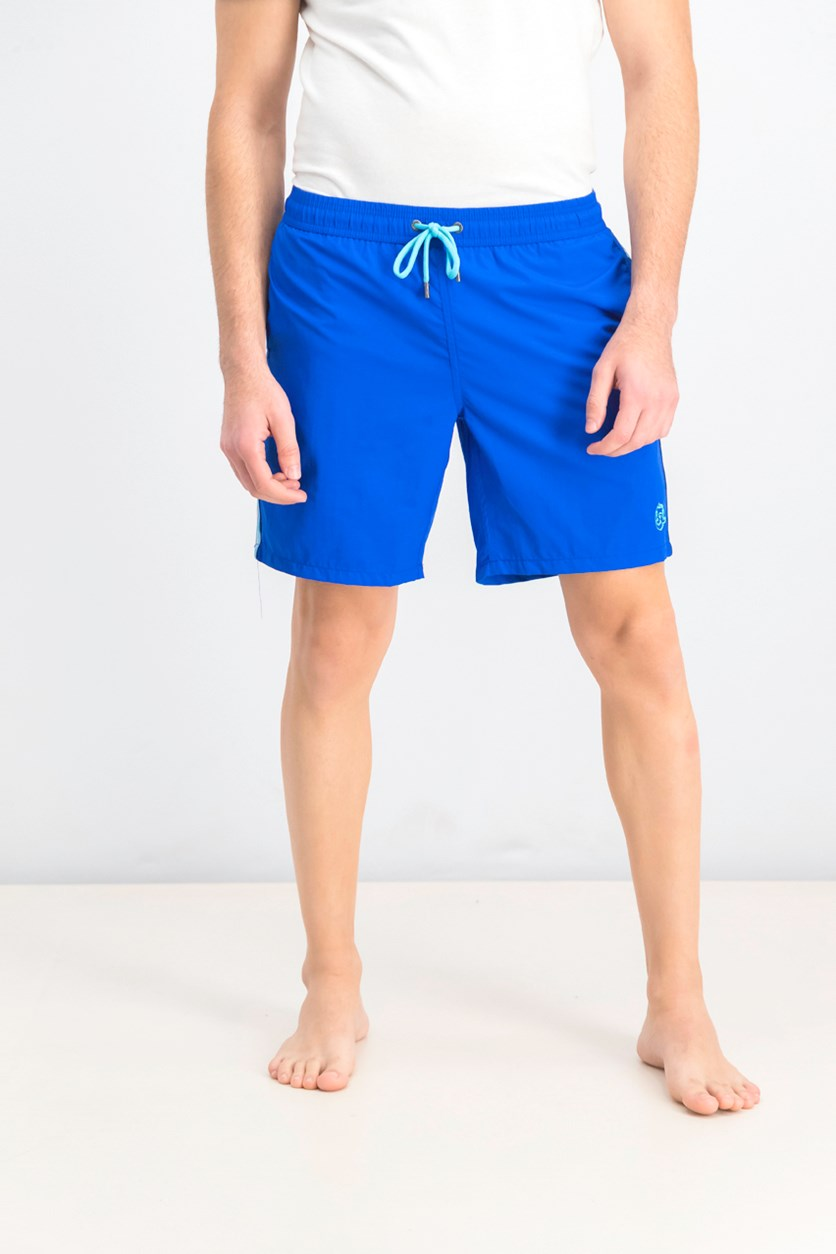 Men's Solid With Side Tape Swim Trunks, Blue
