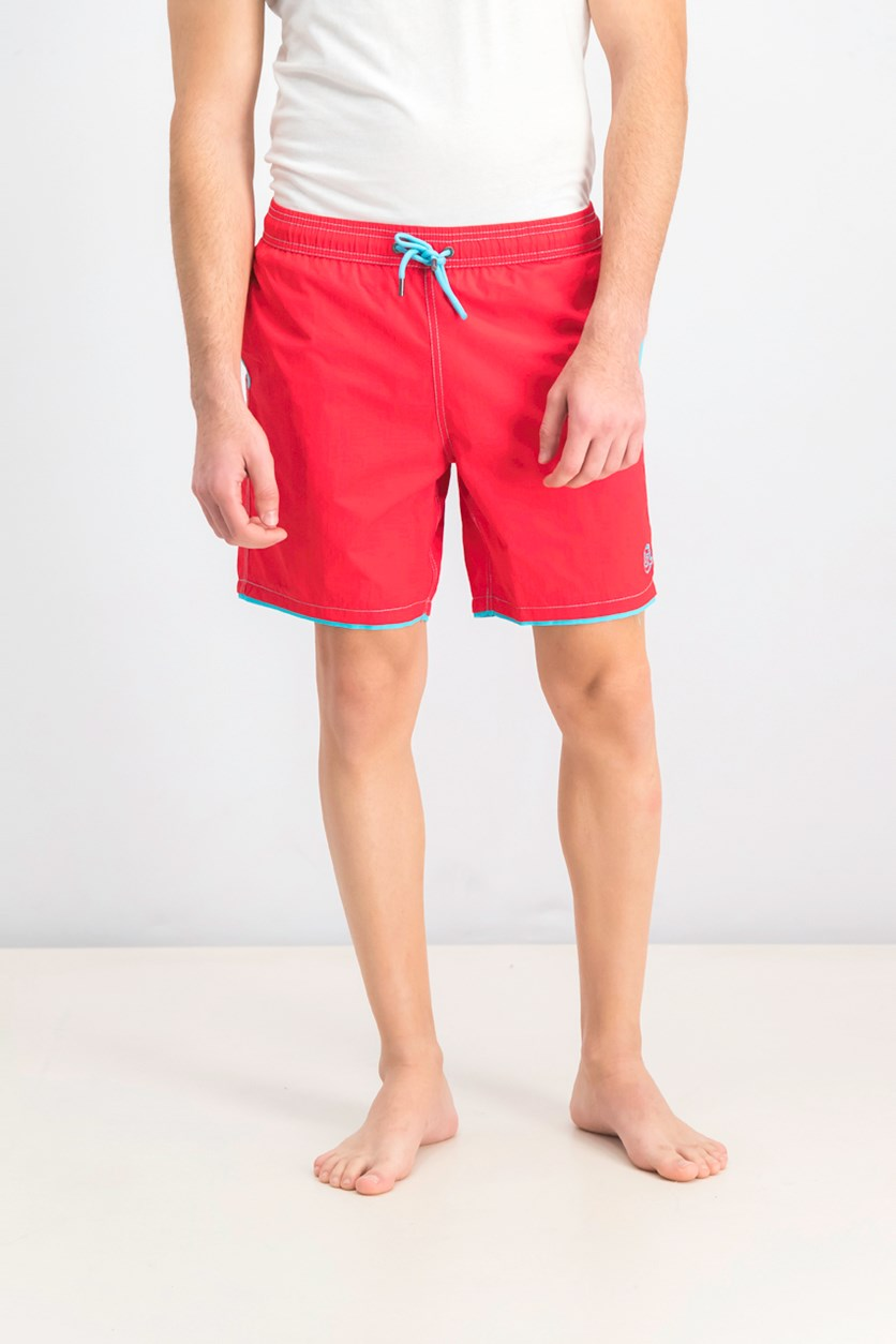 Men's Double Leg Swim Trunks, Red
