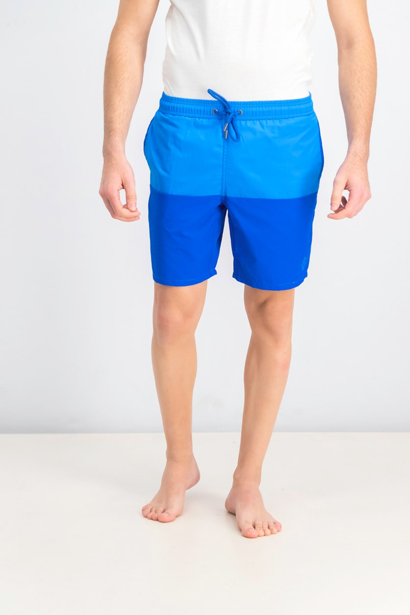 Men's Color Block Elastic Swim Trunk, Bright Royal