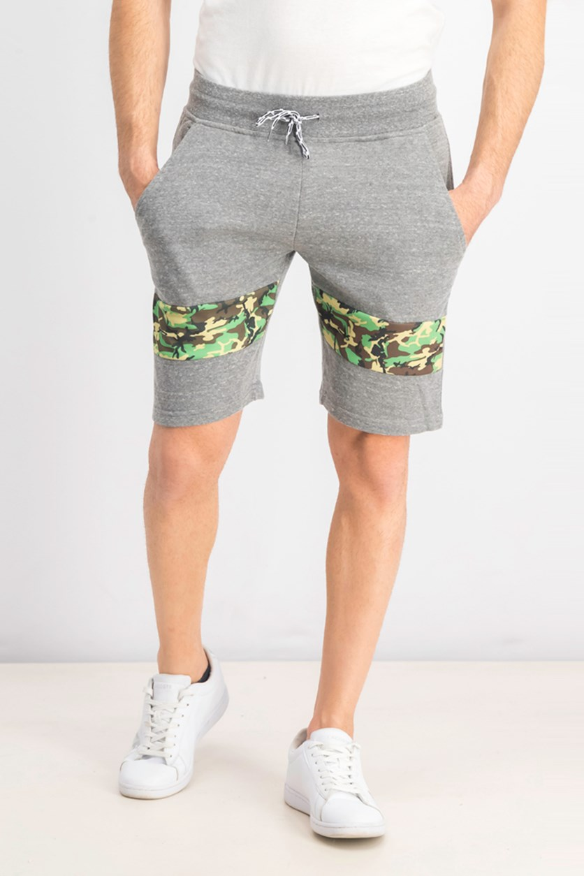 Men's Plain With Camouflage Print Short, Heather Grey