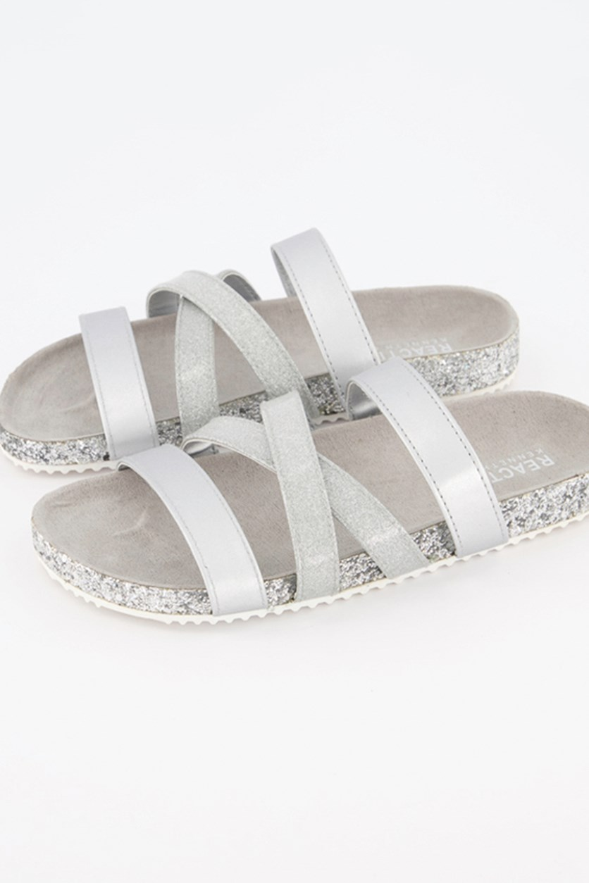 Big Girl's Janet Karla Sandals, Silver